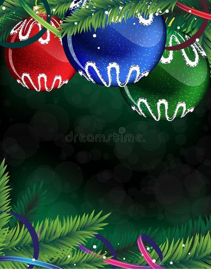 Billes colorées de Noël sur un fond vert illustration stock
