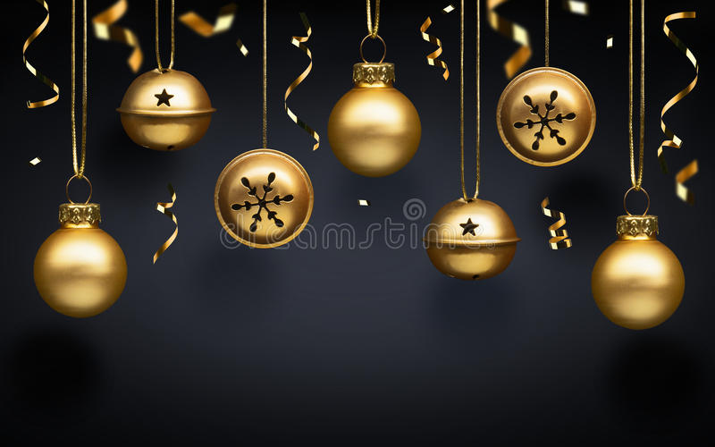 Billes d'or de Noël images stock