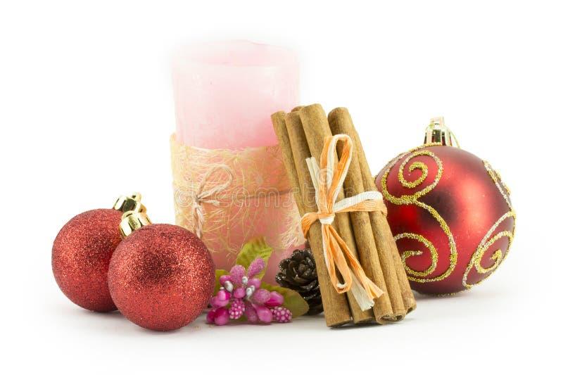 Billes d'an neuf, de Noël, décorations et cadeaux photos stock