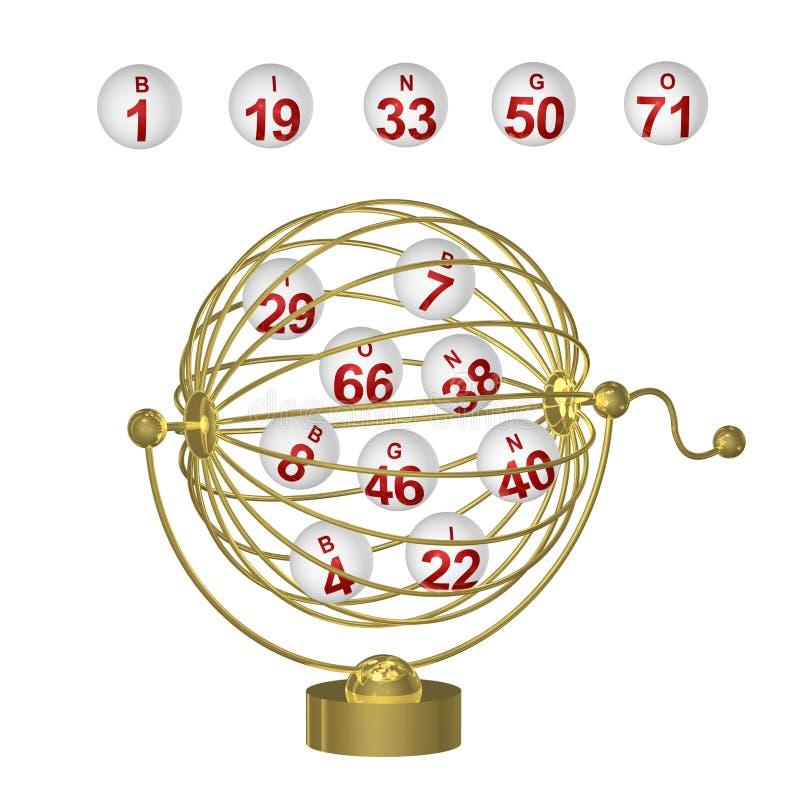 Billes de bingo-test dans la cage d'or illustration de vecteur
