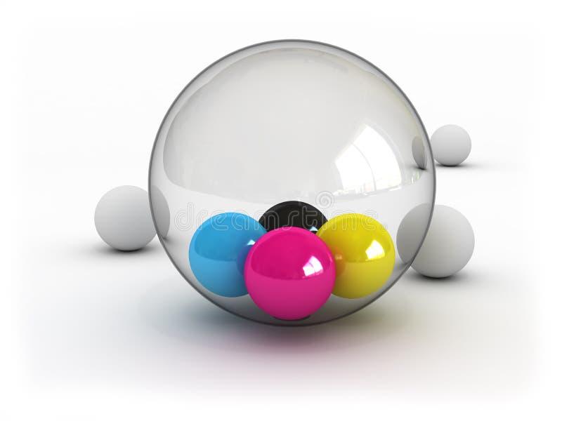 Billes de CMYK dans la sphère en verre illustration libre de droits