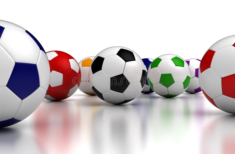Billes de football colorées illustration stock