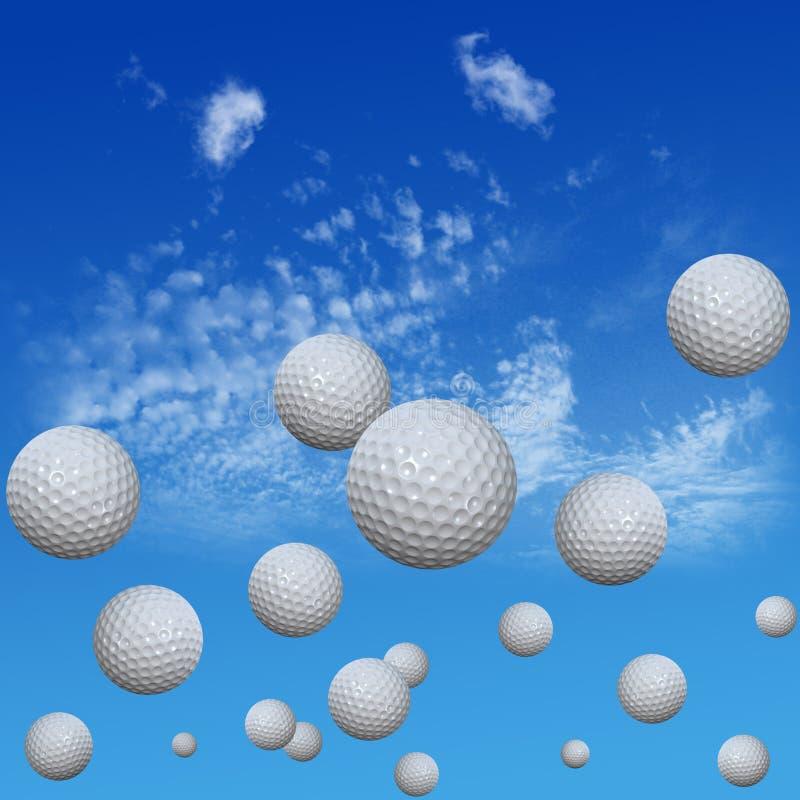 Billes de golf réglées en ciel de haut nuage illustration stock