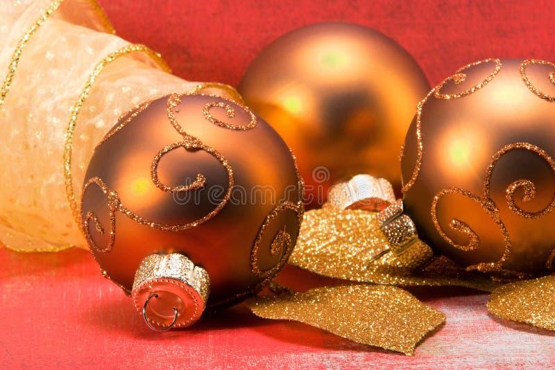 Billes De Noël D Or Photographie stock