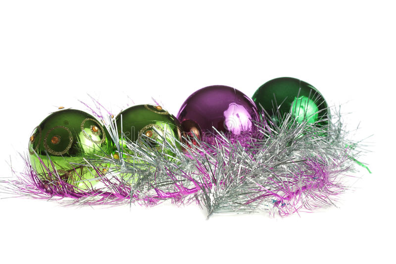 Billes de Noël dans une ligne photographie stock