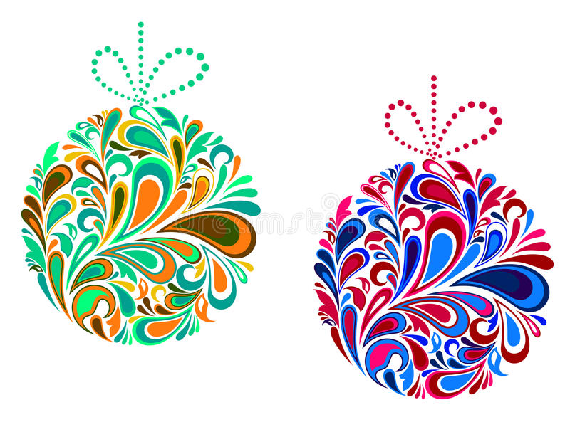 Billes de Noël de vacances dans floral illustration stock