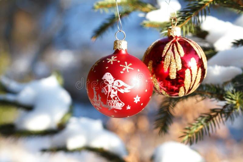 Billes de Noël sur l'arbre neigeux extérieur image stock