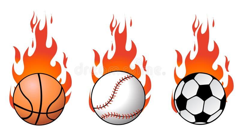 Billes de sport de vecteur sur des flammes illustration stock