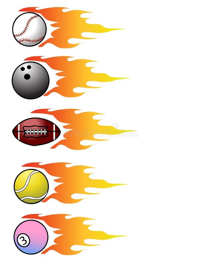 Billes de sport de vecteur sur des flammes illustration libre de droits
