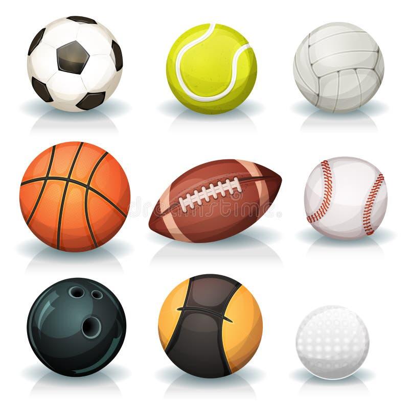 Billes de sports réglées illustration de vecteur