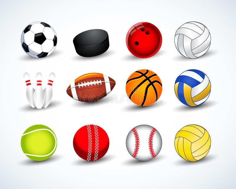 Billes de sports réglées hockey, base-ball, cricket, basket-ball, le football, tennis, le football, base-ball, bowling, golf, vol illustration de vecteur