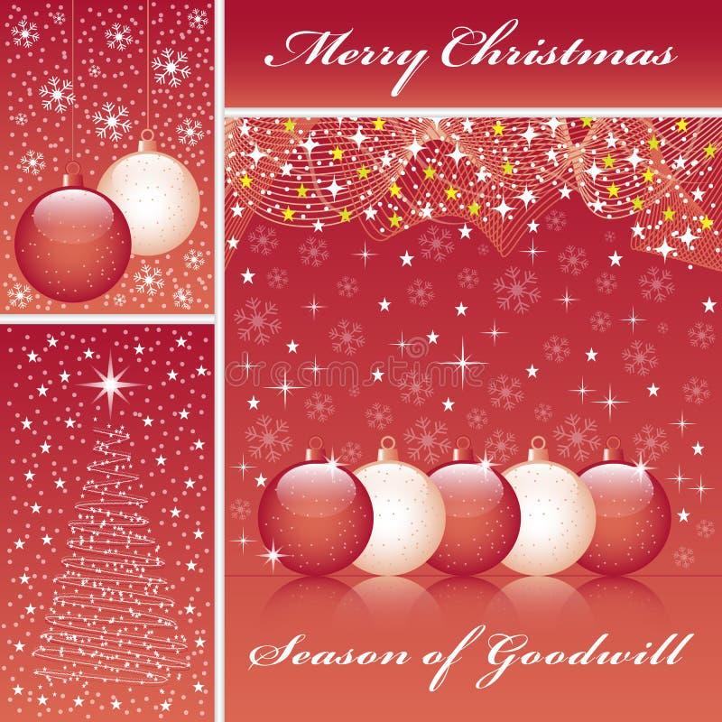Billes et arbre de Noël sur le rouge illustration stock