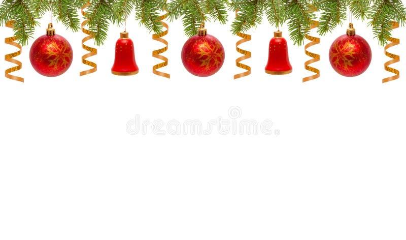 Billes et cloches rouges de Noël. images stock