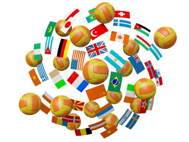 Billes et indicateurs de volleyball illustration de vecteur