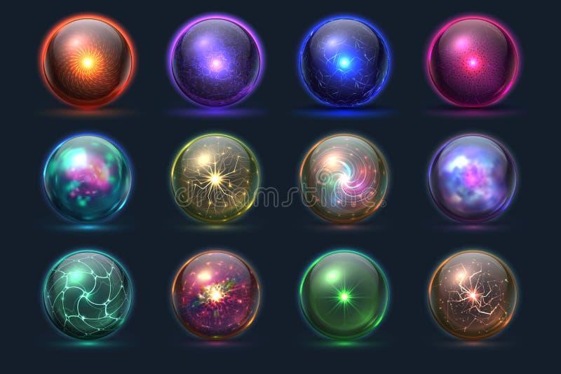 Billes magiques Globes mystérieux d'énergie, sphère paranormale cristal de prévision magique de verre Ensemble de vecteur illustration libre de droits