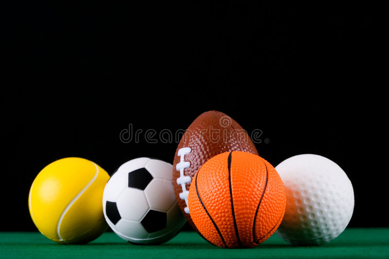 Billes miniaturisées de sport   images libres de droits
