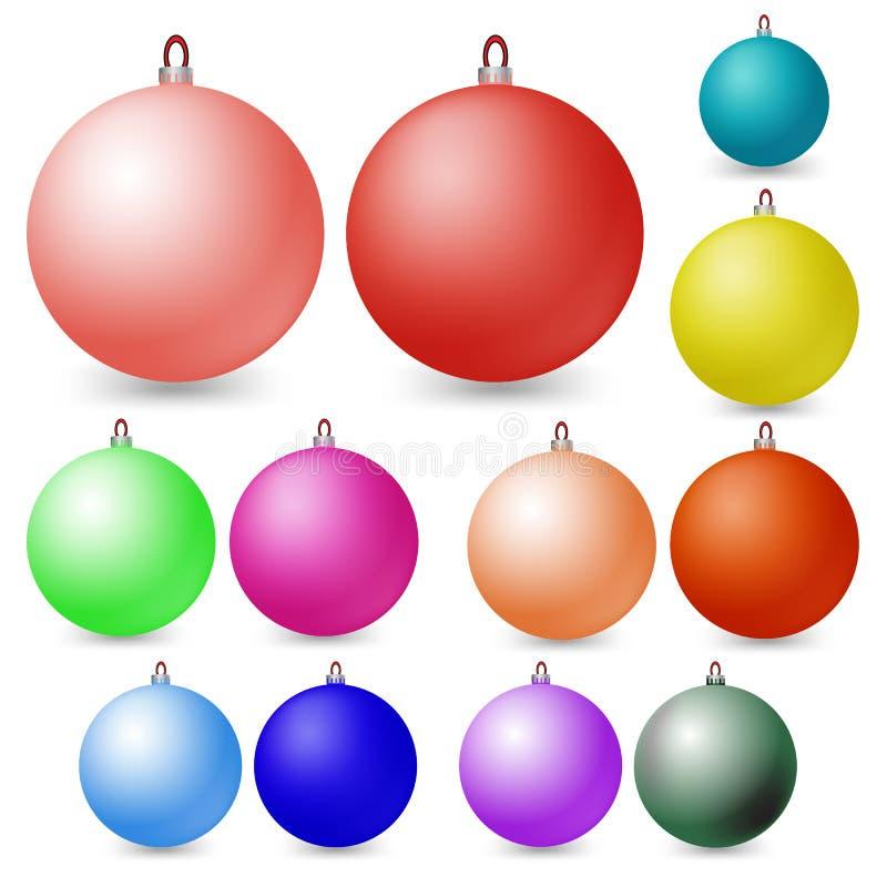 Billes multicolores de Noël Décorations de Noël de vecteur illustration de vecteur