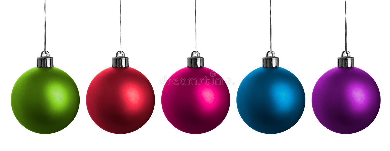 Billes multicolores de Noël d'isolement sur le blanc. photographie stock