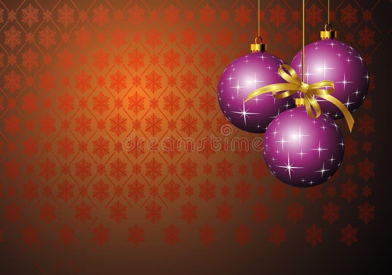 Billes pourprées de Noël illustration stock