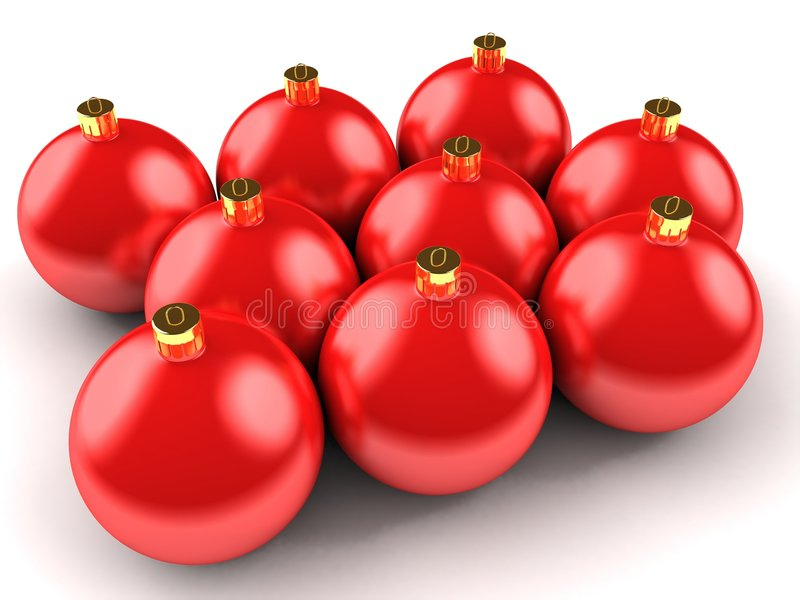 Billes rouges de Noël illustration stock