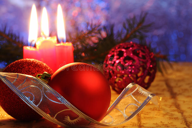 Billes rouges de Noël photographie stock