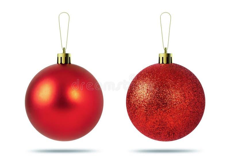 Billes rouges de Noël d'isolement sur le fond blanc Décoration de Noël photo libre de droits