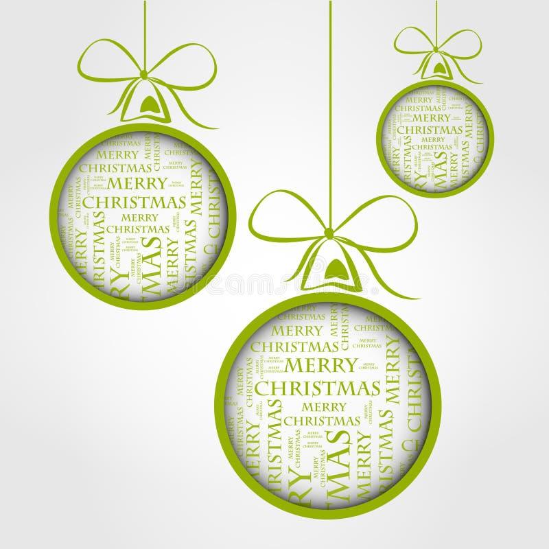 Billes vertes des textes de Joyeux Noël illustration de vecteur