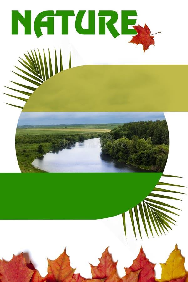 Billet auf dem Thema der Natur mit dem Hintergrund des Flusses und des Herbstlaubs stockbilder