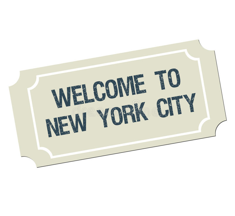 Billet avec l'accueil des textes vers New York City illustration stock