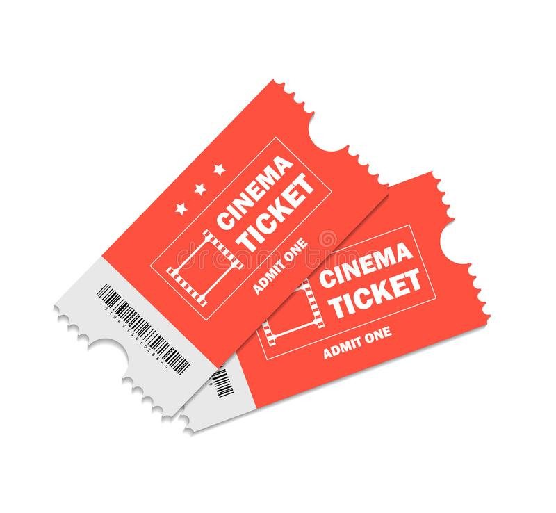 Billet cinéma pour cinéma. Admission de deux billets rouges pour le théâtre, le cinéma, le cinéma sur fond isolé. Billet de illustration libre de droits