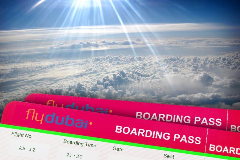 Billet d'avion FLYDUBAI LA RUSSIE, ROSTOV ON DON Fenêtre d'un avion images libres de droits