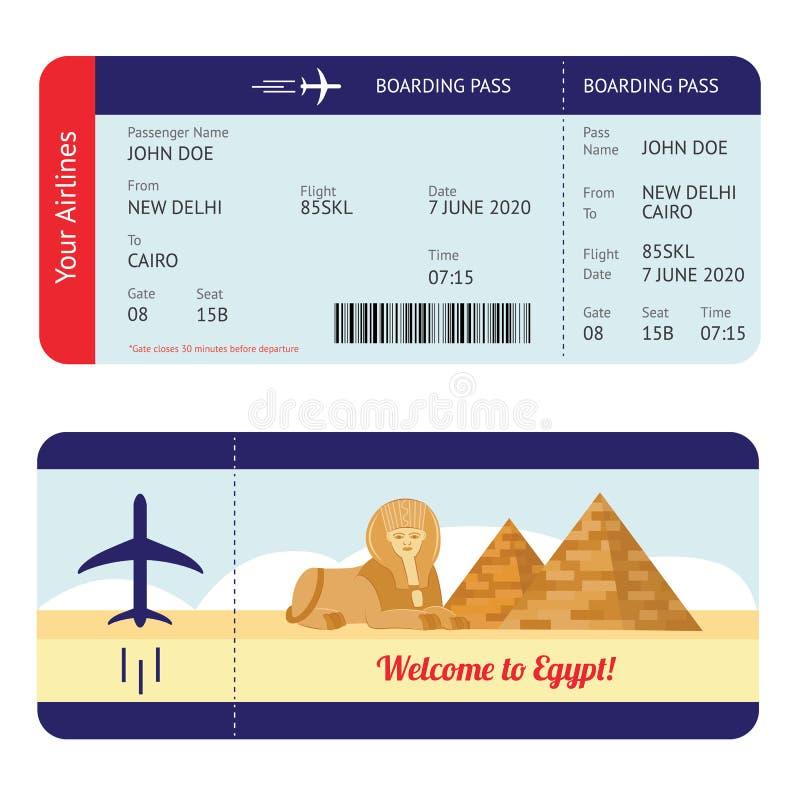 Billet d'avion pour l'Egypte - carte d'embarquement de destination touristique maquette avec information de vol illustration de vecteur