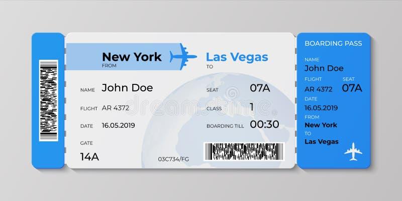 Billet d'embarquement Maquette de passage de vol d'avion, carte plate d'invitation de voyage Concept réaliste de vecteur de bille illustration stock