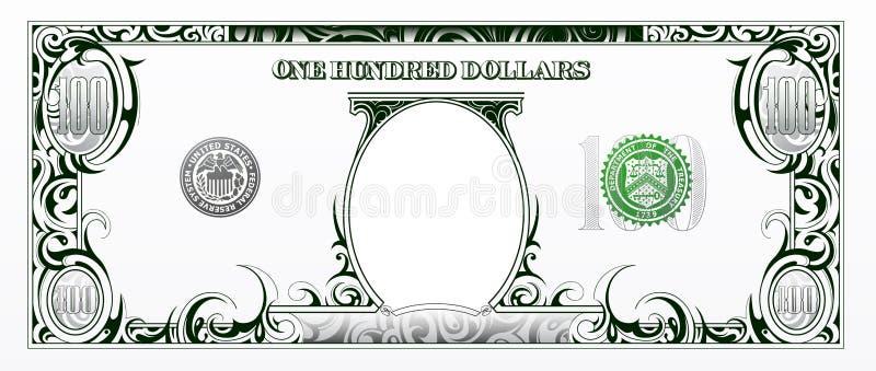 100 billet d'un dollar Argent de bande dessinée illustration de vecteur