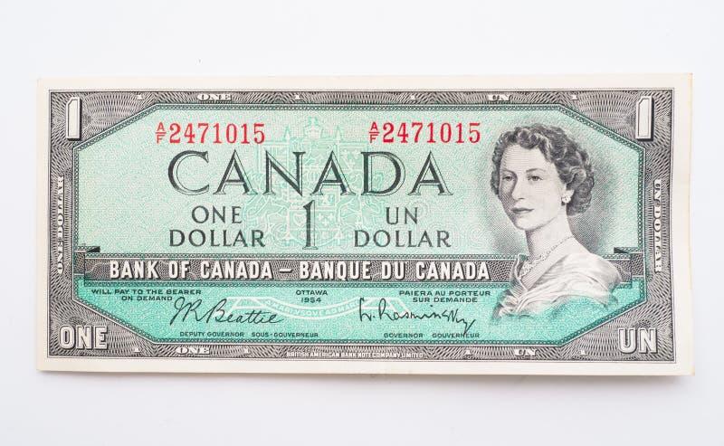Billet d'un dollar canadien cru photo stock