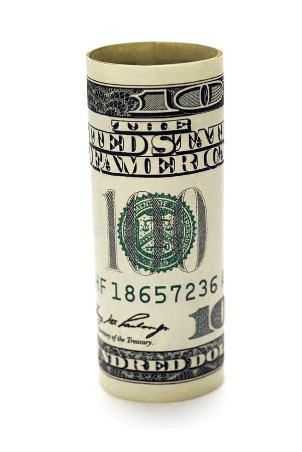 Billet D Un Dollar Roulé Images stock