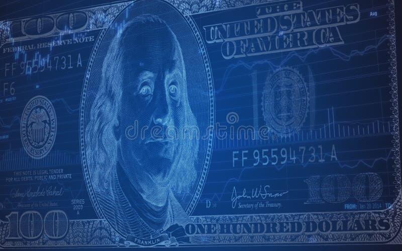 100 billet d'un dollar sur un diagramme de marché boursier illustration libre de droits