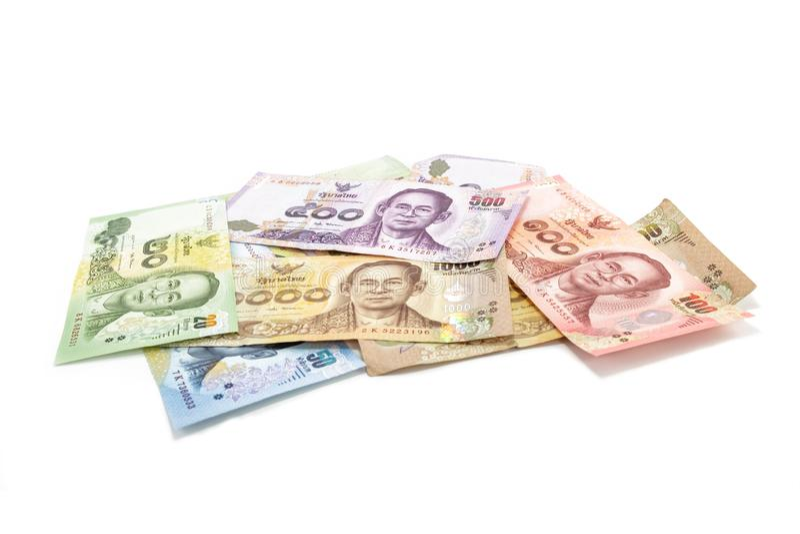 Billet de banque de baht tha?landais images libres de droits