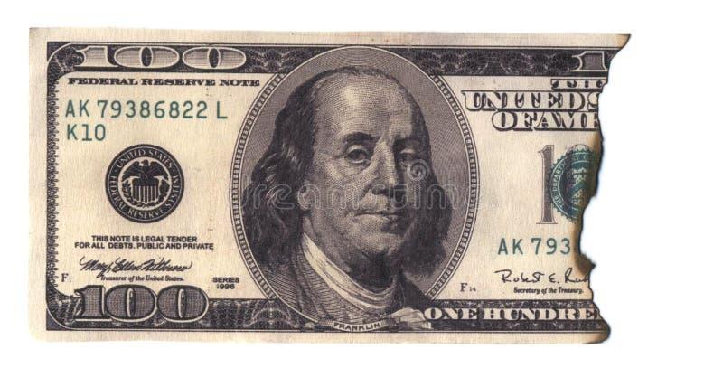 Billet de banque brûlé image stock