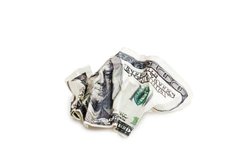 Billet de banque chiffonné de 100 dollars d'isolement sur le blanc photo stock