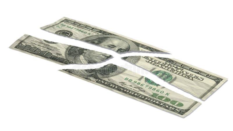 Billet de banque déchiré du dollar illustration libre de droits