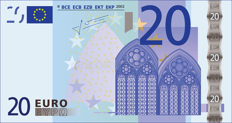 Billet de banque de 20 euro. illustration de vecteur