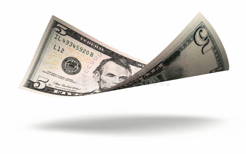 Billet de banque des cinq dollars illustration stock