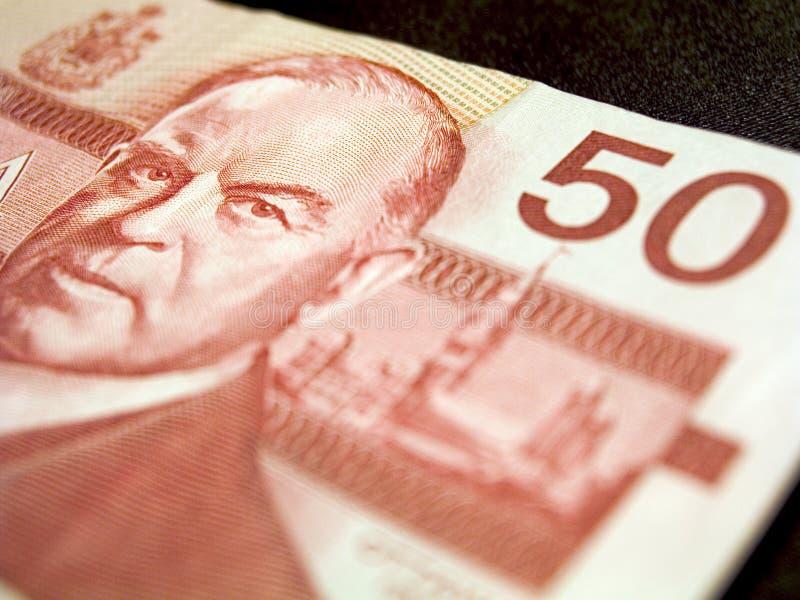 Billet de banque des cinquante dollars (canadien) photos libres de droits