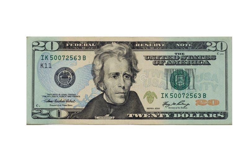 Billet de banque des vingt dollars photo libre de droits