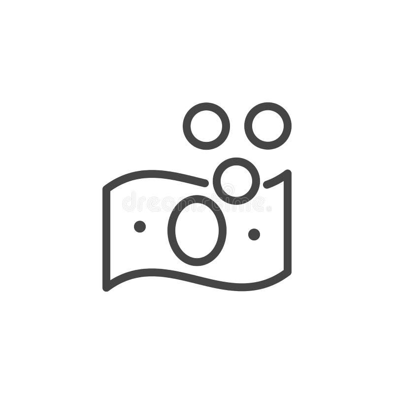 Billet de banque du dollar avec l'icône de bulles Devise, argent, finances, encaissant le label Bourse des valeurs, commerce, log illustration de vecteur