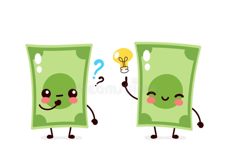 Billet de banque mignon d'argent avec la question illustration de vecteur