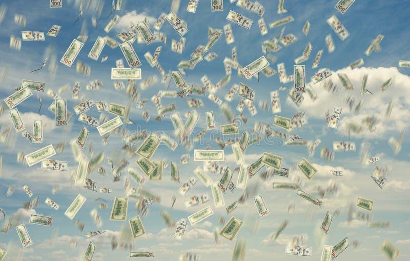Billet de banque tombant vers le bas illustration stock