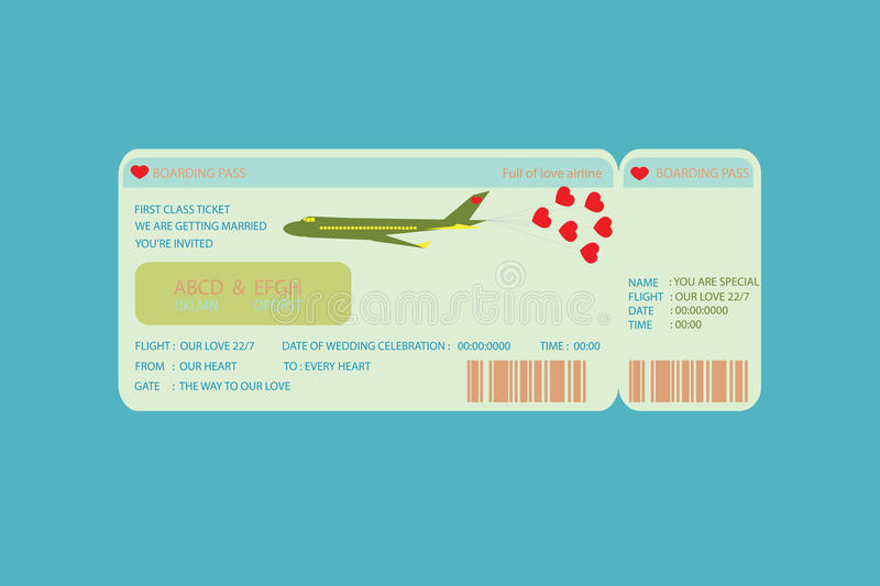 Billet de carte d'embarquement illustration libre de droits