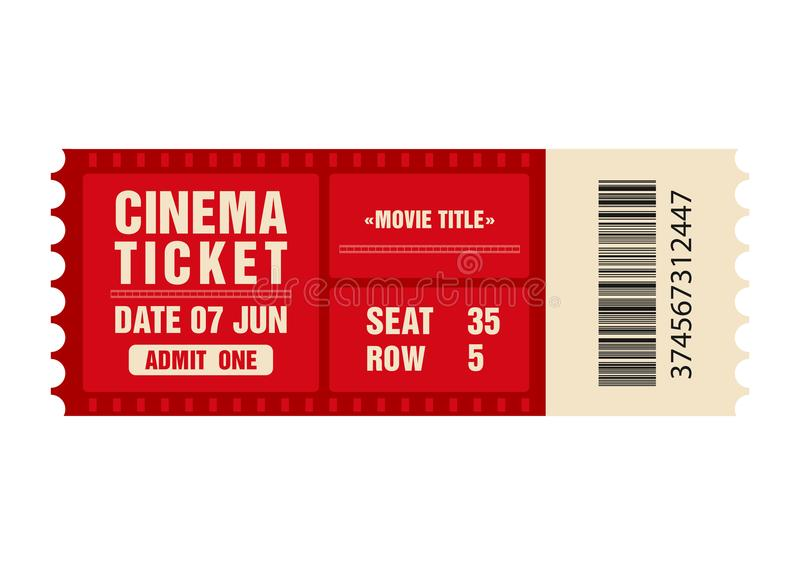 Billet de cinéma Calibre de billet de film d'isolement sur le fond blanc illustration libre de droits